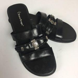 Bare Traps Black Leather Southwestern Style Sandal